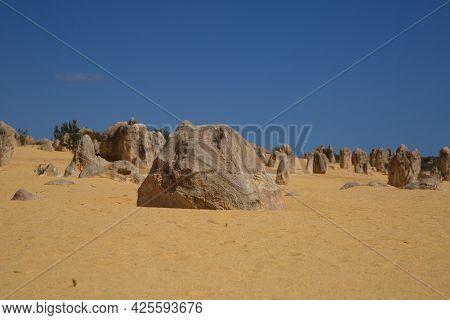 Pinnacles Desert Landscape Of Natural Limestone Rocks Nambung National Park, Western Australia.