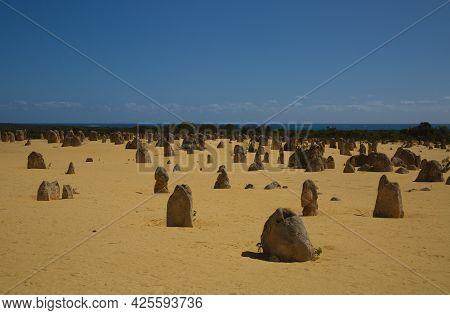 Pinnacles Desert Landscape Portrait Of Natural Limestone Rocks Nambung National Park, Western Austra