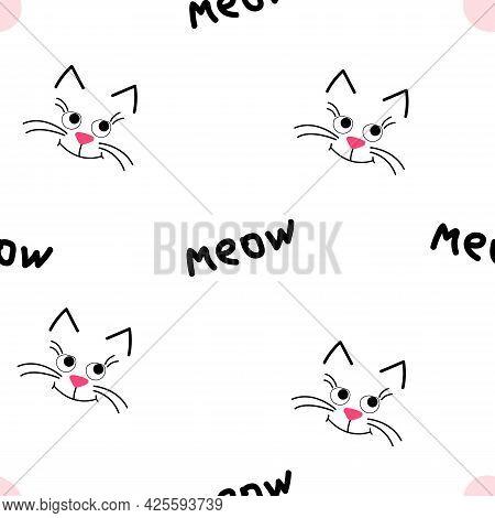 Cute Kitty Muzzle. Seamless Pattern On Pink Background.