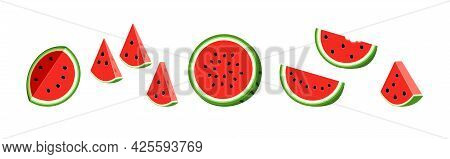 Half Watermelon With Seeds. Set Flat Icon Watermelon Slice.