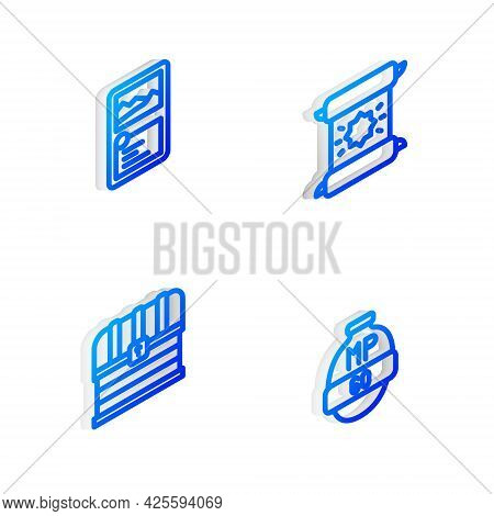 Set Isometric Line Decree, Parchment, Scroll, Card Game Collection, Chest And Video Bar Icon. Vector