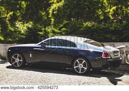 Kiev, Ukraine - June 12, 2021: Luxury British Rolls-royce Wraith Car Parked In The City