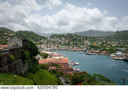 St Georges Fort Overlooking The City Of St Georges In Grenada.