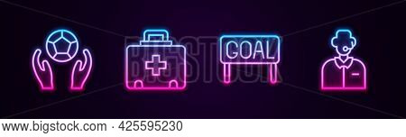 Set Line Soccer Football Ball, First Aid Kit, Goal Soccer And Football Or Commentator. Glowing Neon