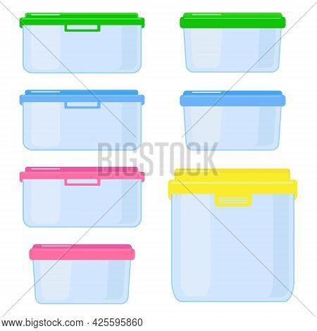 A Set Of Vector Containers For Carrying And Storing Food. Plastic Or Glass Containers With Lids.