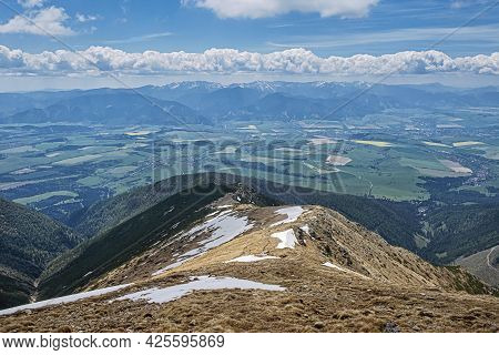 Low Tatras And Liptov Basin From Baranec Peak, Western Tatras, Slovak Republic. Hiking Theme. Season