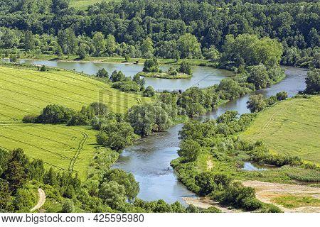 Poprad River Scenery From Stara Lubovna Castle, Slovak Republic. Seasonal Nature. Travel Destination