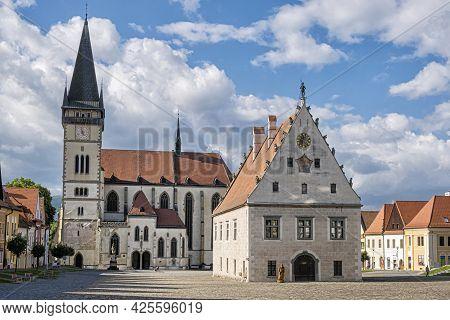 Basilica Of Saint Giles And Old City Hall, Bardejov, Slovak Republic. Religious Architecture. Travel