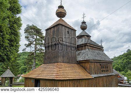 Wooden Church Of Saint Nicolas Of Bodruzal, Slovak Republic. Architectural Theme. Travel Destination