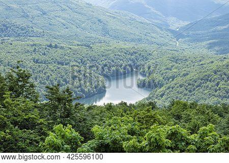 Morske Oko Lake From Sninsky Kamen Hill, Vihorlat Mountains, East Slovak Republic. Seasonal Natural