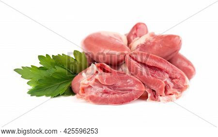 Chicken Hearts Raw Isolated On White Background. Fresh Chicken Broiler Hearts With Parsley Leaves. C