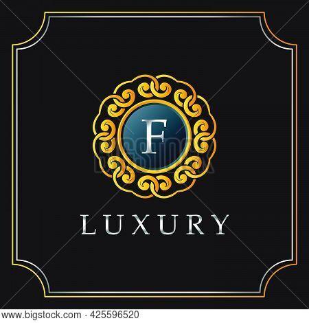 Luxury Mandala Badge F Letter Logo Design. Elegant Ornate Decoration Luxurious Logo Template.