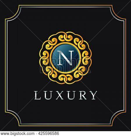 Luxury Mandala Badge N Letter Logo Design. Elegant Ornate Decoration Luxurious Logo Template.