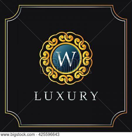 Luxury Mandala Badge W Letter Logo Design. Elegant Ornate Decoration Luxurious Logo Template.
