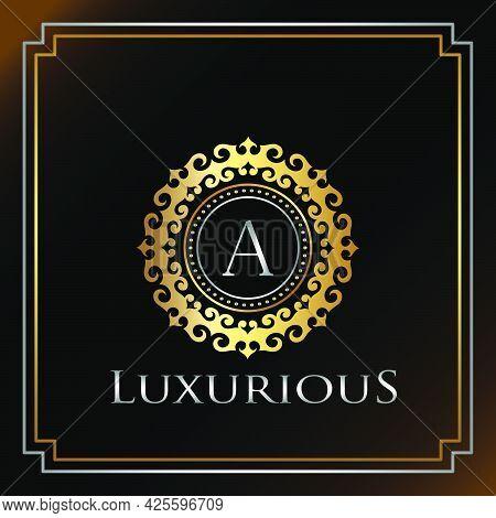 Gold Luxury Ornate Badge  A Logo Letter. Elegance Ornate Decorative Luxury Initial Logo Template Gol