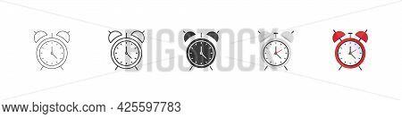 Alarm Clock Vector Icons. Clock Symbols. Alarm Clock Icons In Different Styles. Vector Illustration