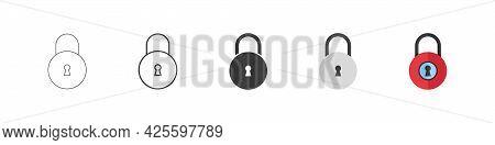 Locks Vector Icons. Padlock Symbols. Padlock Icons In Different Styles. Vector Illustration