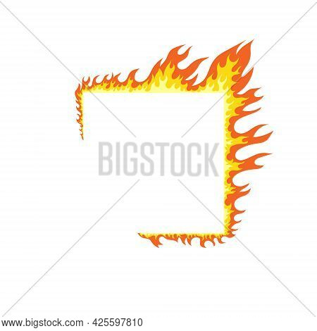 Fire Flames. Fire And Flames On A Square Frame. Flame Elements. Vector Illustration