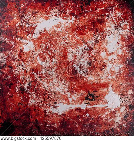 Close Up Grunge Red And White Abstract Uneven Background Texture Of Vintage Weathered Surface With D