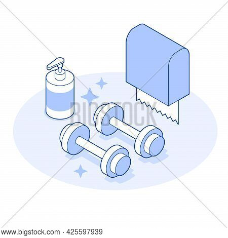 Isometric Gym Vector Illustration Sterile Hygiene Healthcare Concept. Fitness Dumbbells With Paper N