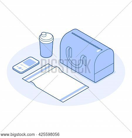 Isometric Gym Vector Illustration Bag Assembling To Fitness Club Training Full Of Personal Things. W