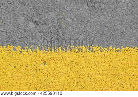 Old Yellow Painted Gray Plaster Concrete Wall With Weatherstains, Runs And Defects