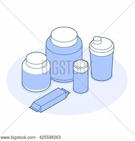 Isometric Sports Nutrition Supplements Illustration Plastic Bottle, Jar, Protein Bar. Sport Food Ful