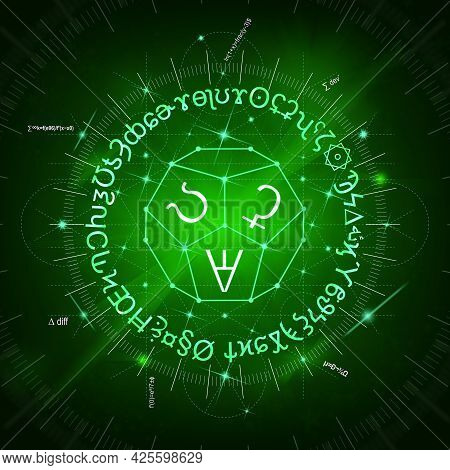 Abstract Green Background Of Glowing Magic Spells, Formulas, Signs, Clockwork And Sacred Symbols