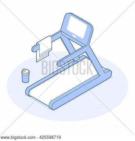 Isometric Gym Vector Illustration Modern Treadmill Electronic Device. Electrical Equipment For Cardi