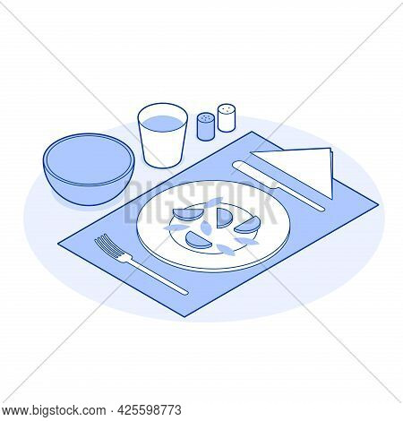 Isometric Healthy Eating Vector Illustration Serving Table With Tasty Food And Drink Isolated. Dieta