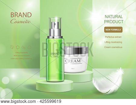 Cosmetics Product Spray Bottle And Cream On Green Shinig Background. Ads Moisturizing Cosmetic On St