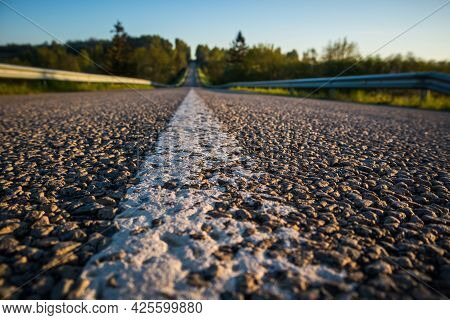 A Beautiful Summer Morning Scenery Of Countryside With An Asphalt Road. Summertime Scenery Of Northe