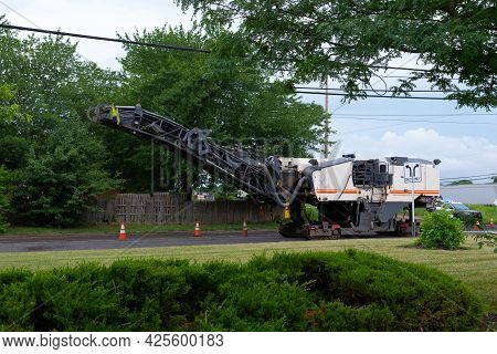 Road Construction Working The Road Milling Machine Remove Old Asphalt Road Repair Process Replaced