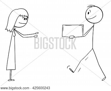 Man Or Messenger Carrying Or Giving Box Or Gift To Woman,  Cartoon Stick Figure Illustration