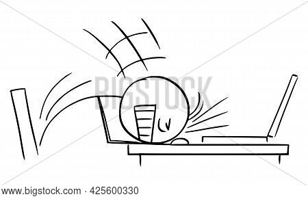 Businessman Or Worker Banging Head Against The Office Desk ,  Cartoon Stick Figure Illustration