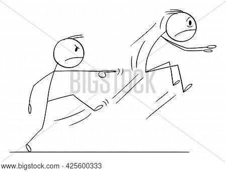 Boss Or Employer Kicking Out Employee Or A Man,  Cartoon Stick Figure Illustration