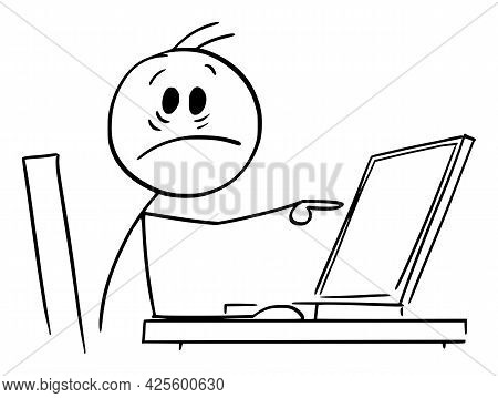 Shocked Person Working In Office And Pointing At Computer Display,  Cartoon Stick Figure Illustratio