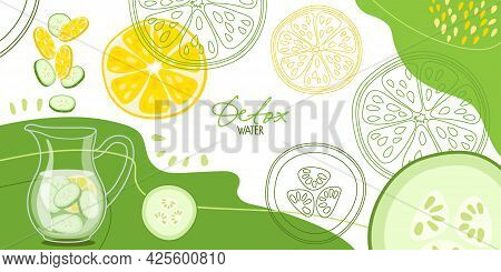 Detox Water Abstract Background. Pieces Of Lemon And Cucumber Fall Into Water Jug. Detox Water. Flat