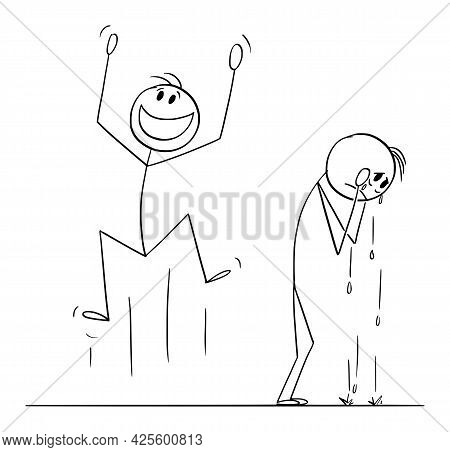 Happiness And Sadness, Happy And Sad Person, Celebrating And Crying ,  Cartoon Stick Figure Illustra