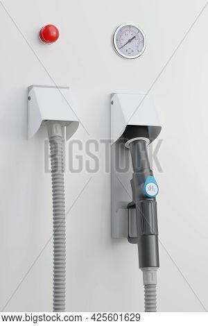 Close Up Of Hydrogen Gas Dispenser. 3d Illustration.