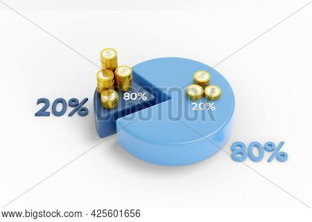 Pareto Principle With Pie Charts And Coins. 3d Illustration.