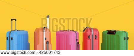 Colorful Suitcases Isolated On Yellow Background. 3d Illustration.