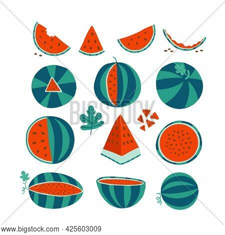 The Illustration Of Ripe Red Watermelons. Whole, Slices, Seeds Of Watermelons. Perfect To Set Of Jui