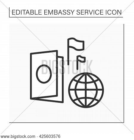 Passport Line Icon. Necessary Document For Traveling Abroad. Confirming Identity And Citizenship. Em