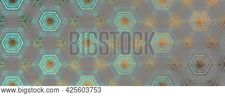 Hexagon Pattern, Abstract Cyan, Grey And Bronze Textured Kaleidoscope Ornament. Symmetric Geometric