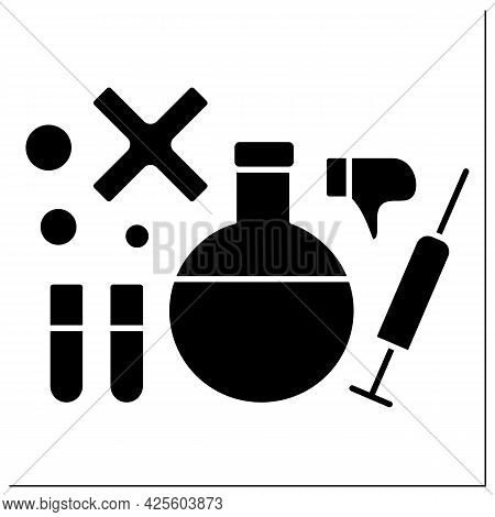 Research Glyph Icon. Explore Vaccine Against Covid19. Examination On Effectiveness Of Vaccine.no Vac