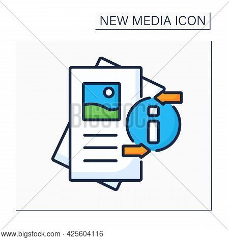 Flyer Color Icon. Paper Advertisement.draw Attention To Event, Service, Product Or Idea. Pamphlet.ne