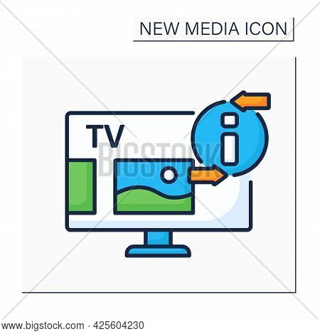Television Color Icon. Telecommunication Medium. Transmitting Moving Images, Video, Tv Shows, News.