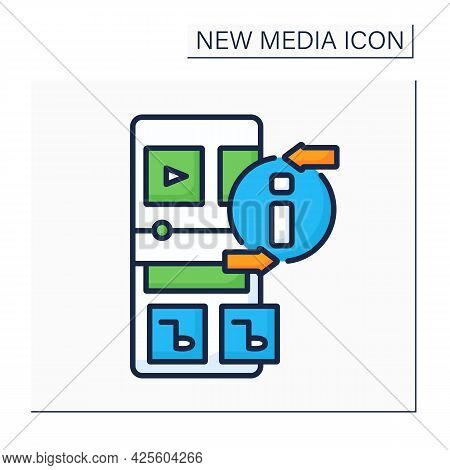 Radio Color Icon. Sound Communication By Radio Waves. Music, News, Social Programs Transmission. Bro