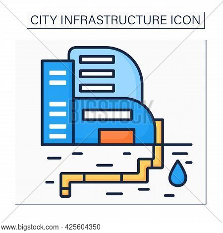 Water Supply Color Icon. Public Utility Providing Water Through System Of Pumps And Pipes. Urban Res